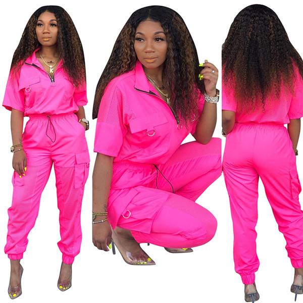 Moda Verão Streetwear 30% Off Lapela Pescoço Patchwork Senhora Outono Malha Treino de Manga Curta das Mulheres de Duas Peças Calças