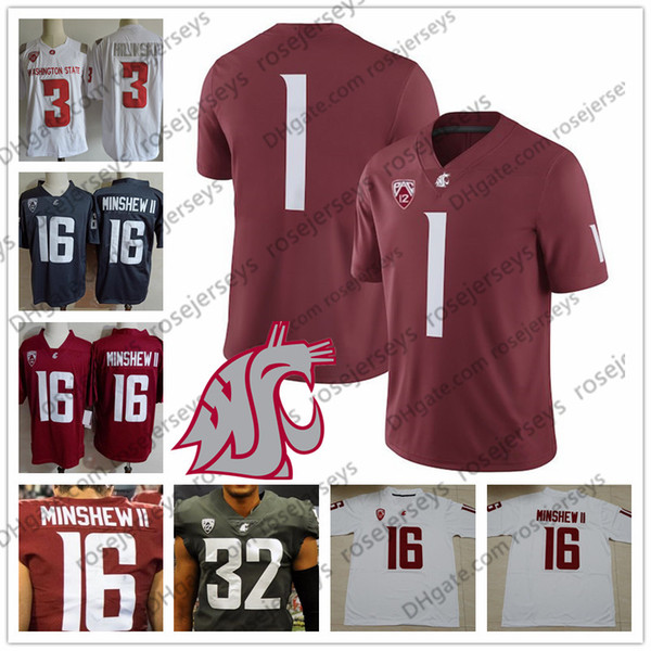 Custom Washington State Cougars College Football red white gray Stitched  Any Name Number  3 Tyler Hilinski 16 Gardner Minshew II WSU Jerseys 9f9ae7501