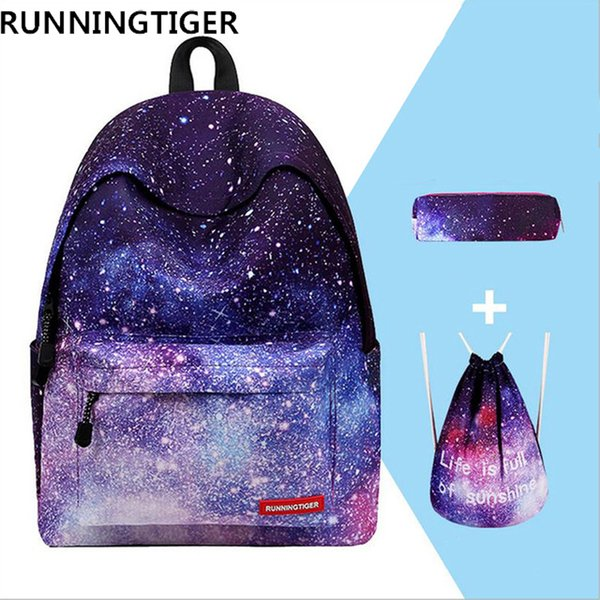 Hot Sale 3pcs Sets School Bags For Teenage Girls Printing Backpack Women Shoulder Drawstring Bags With School Pencil Case Y19051701