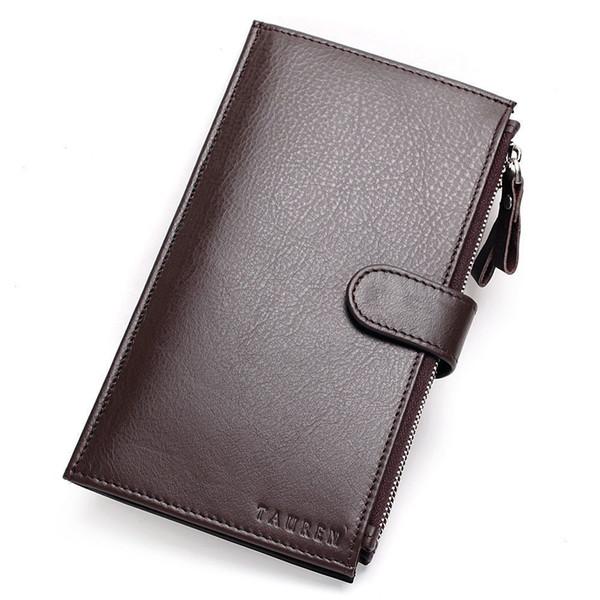 Wholesale China Manufacturer Man Wallet 100% Genuine Leather Coffee Color Large Capacity Men's Vintage Wallets