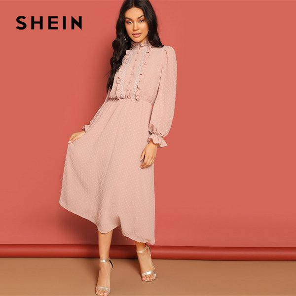 Shein Pink Frill And Lace Trim Half Placket Dot Jacquard Stand Collar Dress Autumn Women Long Sleeve Solid Arabian Dresses T190410