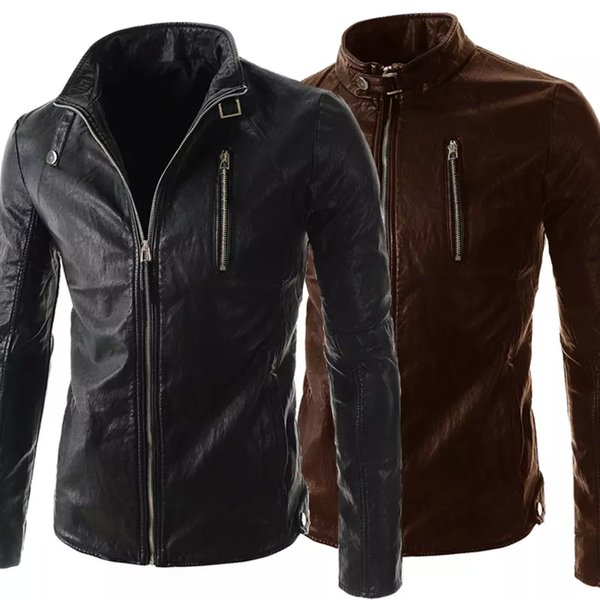 Personalize Men Cool Leather Jacket Long Sleeve Stand Collar PU Motorcycle Jacket For Men Contracted Slim Style Men Overcoat J160118