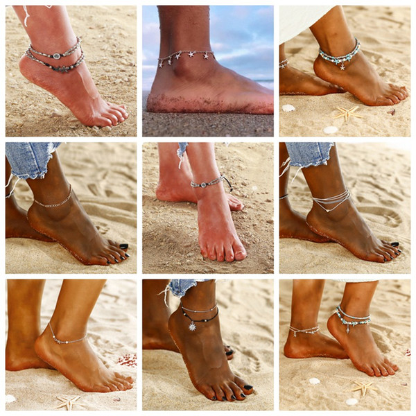9 styles Anklets women Jewelry 2018 simple Anklets new summer Beach Multilayer Leg Chain Boho Ethnic Hippie Tassel star body foot Jewelry
