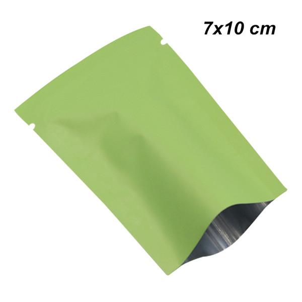 7x10cm Matte Green Open Top Aluminum Foil Vacuum Heat Seal Pack Package Bags Mylar Foil Food Bags Vacuum Storage Pouch for Coffee Tea Powder