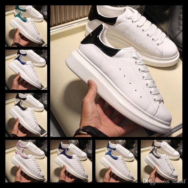 Designers Luxurious Brand white leather casual shoes for girl women men black gold red fashion comfortable flat sneakers size 35-44