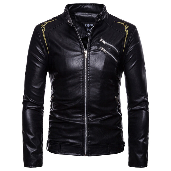 Men's Pu Jackets Autumn Embroidery Motorcycle Leather Zip Jacket Men Thick Clothes Bomber Coats