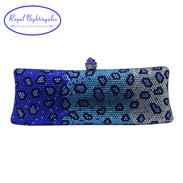 Royal Nightingales Luxury Blue Party Evening Bags And Clutches With Crystal Rhinestone For Womens Party Wedding Prom Dress Y190627