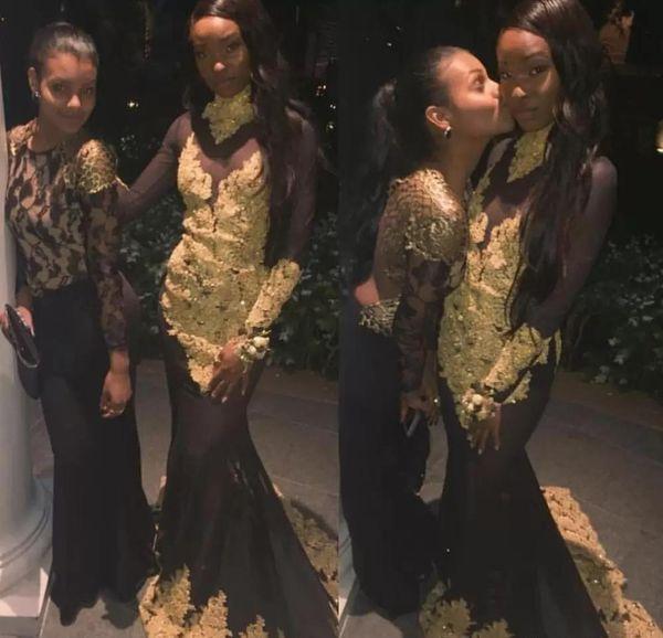 2019 africano negro niñas vestido de fiesta de la sirena de manga larga de encaje desfile vacaciones graduación desgaste fiesta de noche vestido por encargo más tamaño