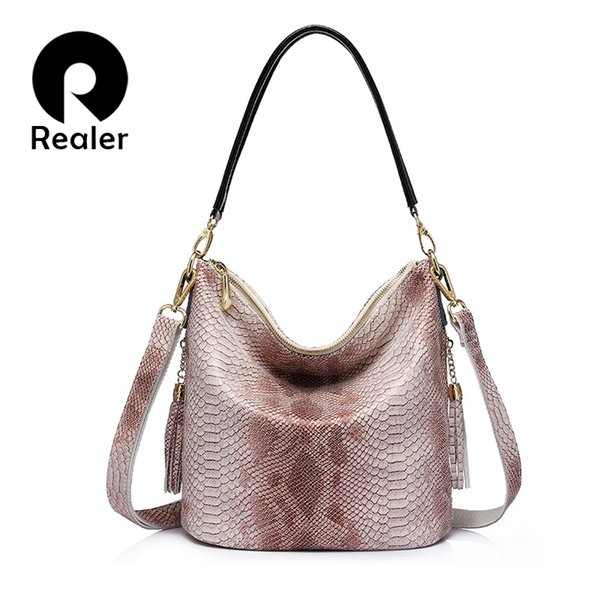 REALER brand new design women genuine leather handbags serpentine pattern shoulder bag female casual crossbody bags with tassel #236377