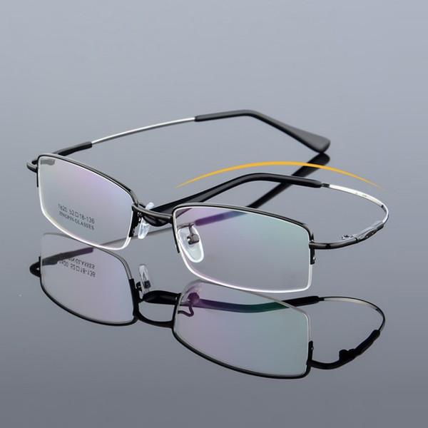 width-136 Neue kleine Gesicht Männer Elastische Brille Tempel Brillengestelle männliche halbe Felge Gedächtnis Titanlegierung Myopie optische Brille