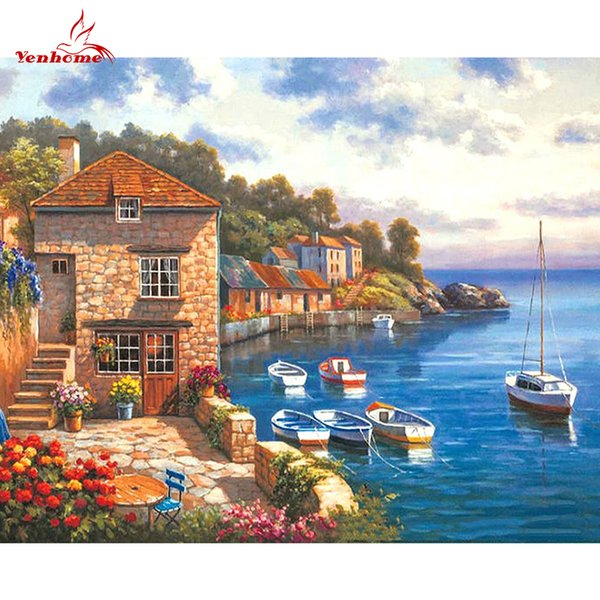 Ocean Style DIY Oil Painting By Numbers Harbour Boats Canvas Paintings Poster Wall Pictures for Living Room Creative Kids Gift