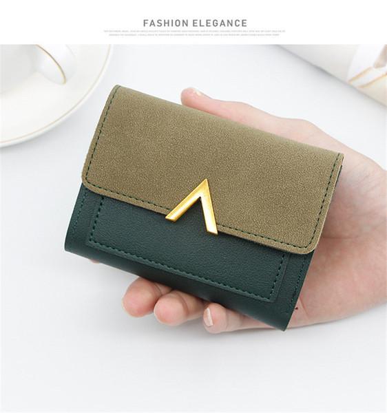 Bolsos de lujo Monederos Nueva billetera de señora simple en corto Bolso de 3 pliegues con carteras Bolsa multifunción multifunción 7 Monedero de diseñador de color