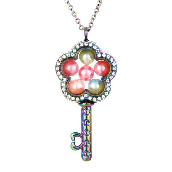 Fiore multicolore Chiave Altro Stile 8mm Perle Perle Cage Magnetic Floating Floating Locket Pendenti Charms 27