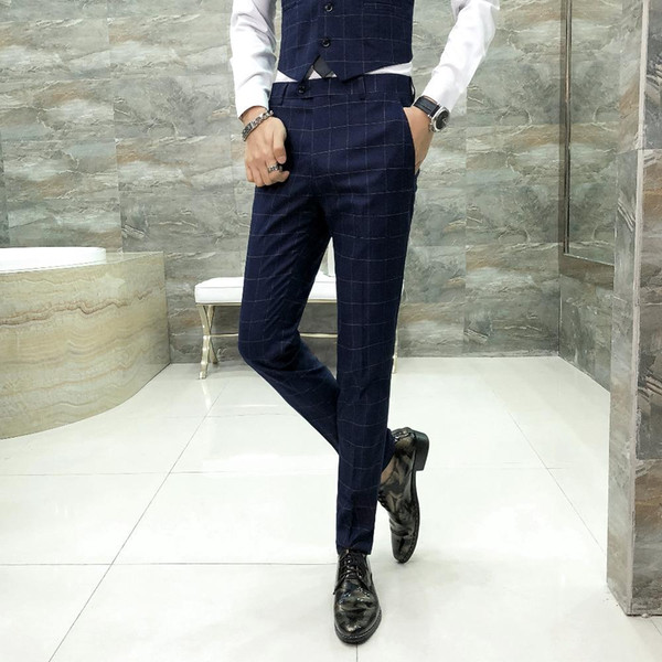 Brand New Dress Pants Men Fashion 2018 Autumn Slim Fit British Style Plaid Mens Casual Pant Hot Sale Business Trousers Men 33-29