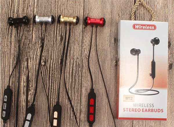 New Cross-border Exclusive M12 Wireless Sports Bluetooth Earphone Headset Running Metal Magnetic Support TF Card MP3 Music Headphones DHL
