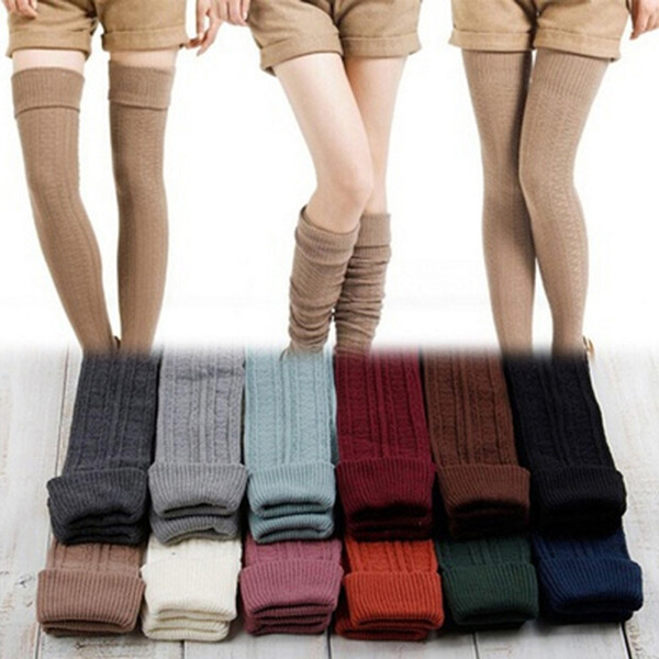 1 pair girls ladies women warm thigh high over the knee socks 4 solid colors long cotton stockings