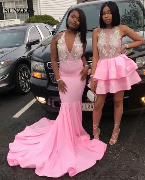 Mermaid Pink Prom Dresses 2019 Black Girls Long Jersey Abiti da festa Halter Neckline Sheer Top Sexy Abbigliamento formale Appliques
