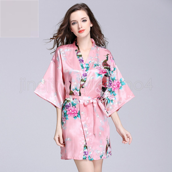 12 Colors bathrobe Sleeping gown S-XXL Women's Japanese Silk Kimono Robe Pajamas Nightdress Sleepwear floral Underwear VVA454