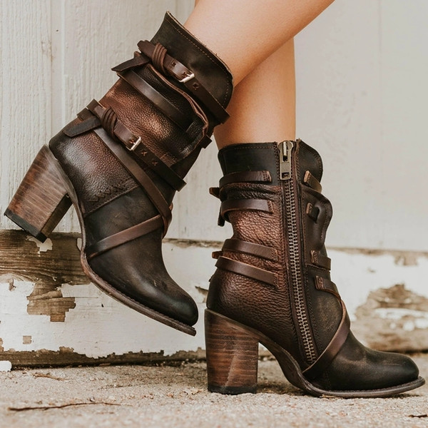 Lasperal Nice Women Ankle Boots Block High Heels Boots Children's Shoes Retro Leather Winter Shoes Plus Size Booties Cowboy Boots