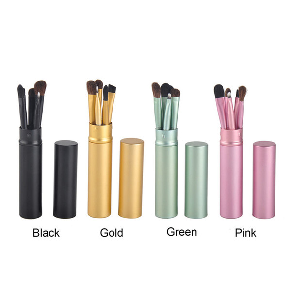 top popular Hot Sell 5pcs Professional Travel Portable Mini Eye Makeup Eyeshadow Brushes Set Make Up Brushes Kit With Round Tube 2019