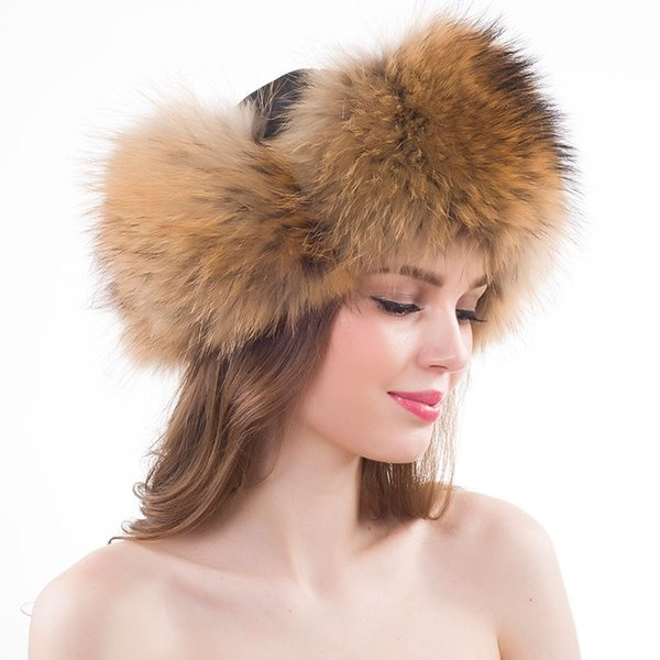 New Winter lady Style Genuine Real Fox Fur Hat Women 100% Natural Real Fox Fur Cap Casual Warm Russia Bomber