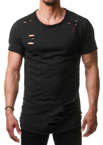 Düz Renk Erkek Tişörtleri Ekip Boyun Oymak Kısa Kollu Erkek Tees Casual Moda Genç Tops