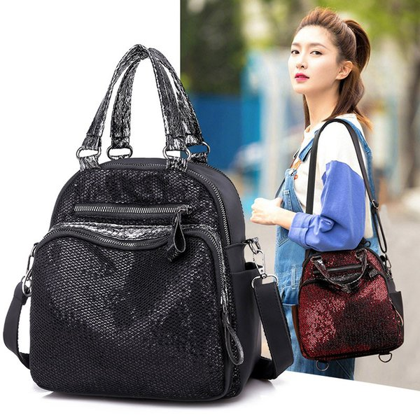 2019 New Fashion Mini Casual Backpack Removable Shoulder Strap Sequins Bag for Women Girls BS88