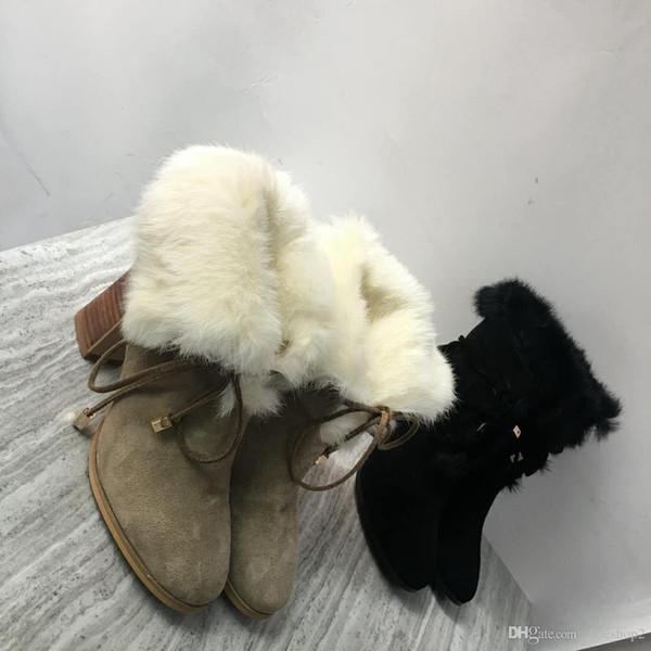 Marque Designer En Cuir Véritable Femmes Bottes De Fourrure Daim Bottes De Neige 100% Lapin Chaussures D'hiver Chaudes Pour La Mode De Luxe Femme Bottes Aux Genoux W1