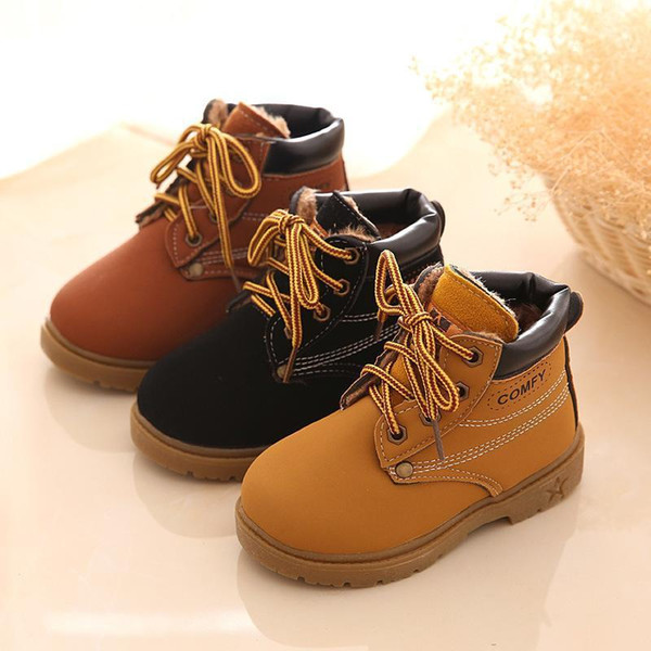 2020 designercomfy kids winter fashion child leather snow boots for girls boys warm martin boots shoes casual plush child baby toddler shoes