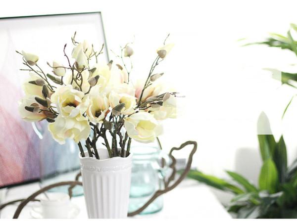 3 Opzioni di colore Realistico Primavera Artificiale Retro Magnolia Disposizione dei fiori di seta Tavolo da tavola casa all'ingrosso Matrimonio per la decorazione
