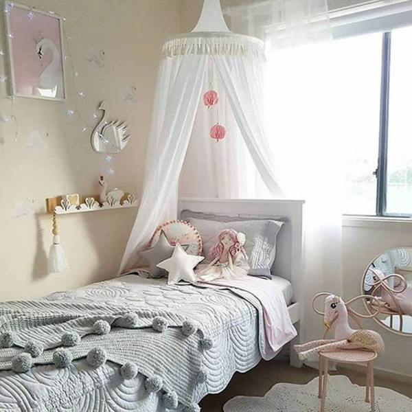 Cotton Tassel Hung Dome Mosquito Net Tent Princess Bed Net for Kids Children's Room Decorations Photography Props