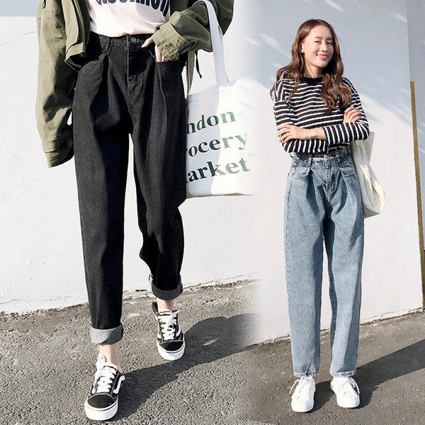 2019 Fashion High Waist Boyfriend Jeans For Women Loose Style Causal Mom  Jeans Black Plus Size