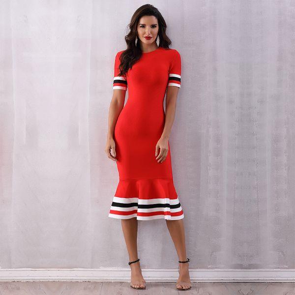 Glamorous Mermaid Knee Length Bandage Dresses Falbala T-Shirt Formal Gowns Red Prom Dresses Round Collar Femal Dresses
