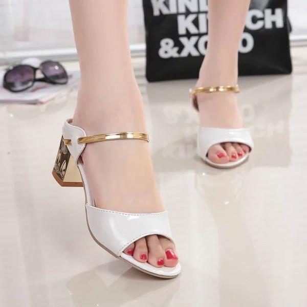 Lucky2019 Lazer Sapatos Tempo Peixe Boca Mulher Sandálias Grosseiras Com Singulares Sapato das Mulheres