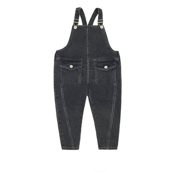 Hip Hop Girls Denim Overalls Pant Fashion Spring Autumn Outdoor Pants for Kids High Street Solid Jeans