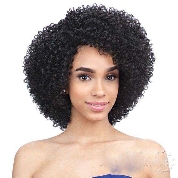 Yeni saç afro kısa kesim kinky kıvırcık doğal peruk Afro-amerikan Brezilyalı Saç Simülasyon İnsan Saç siyah Sapıkça kıvırcık peruk