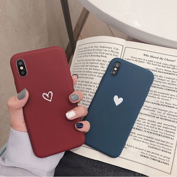 Love Heart Pattern Phone Cases For Iphone 6 6s 7 8 Plus Xs Max Xr X Soft Tpu Silicone Ultra Thin Simple Back Cover Protective Cell Phone Cases Reiko