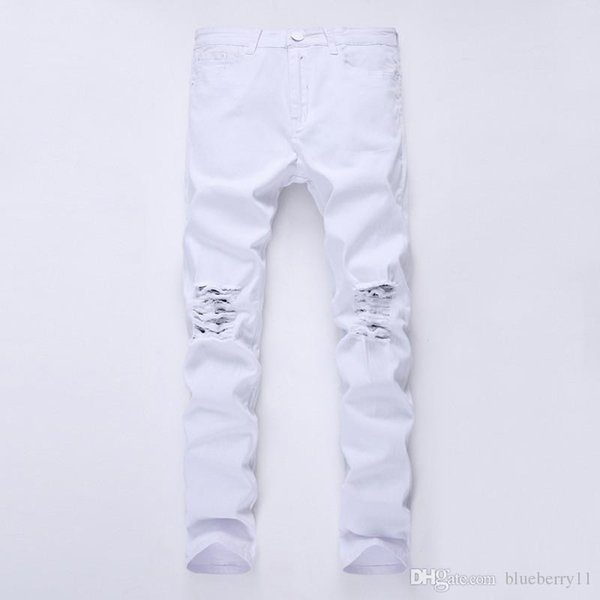 Mens Designer Marke schwarze Jeans Skinny Ripped Destroyed Stretch Slim Fit Hop Hop Hosen mit Löchern für Männer 27-38