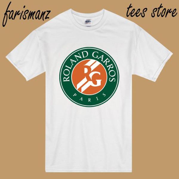 New Roland Garros Paris Tennis Grand Slam Logo Men's White T-Shirt Size S to 3XL