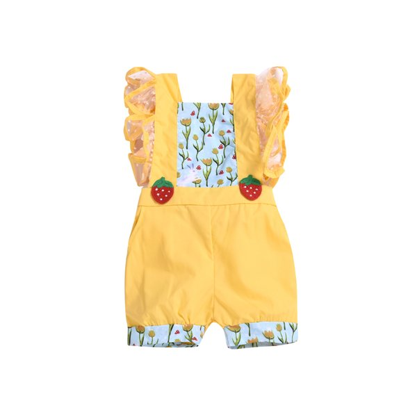 Summer Infant Baby Girls Strawberry Patchwork Rompers Toddler Flower Bodysuits Lace Sleeve Jumpsuits Clothes Baby Clothing