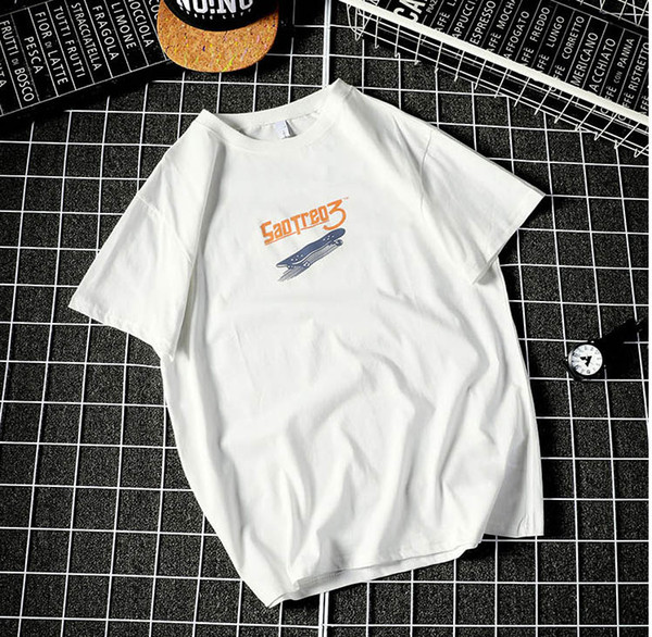 2019 Mens Casual T Shirts Summer New Men's Short Sleeved Tshirt Hip Hop Letter and Skateboard Printed Tops Tee Mens Loose Clothes Wholesale