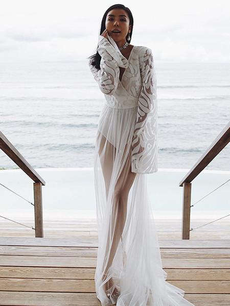 Sexy Mesh Broderie Imprimer Deux Piece Voir à Travers Des Couvres Bikini Maillots De Bain À Manches Longues De Plancher Beachwear Robe Club