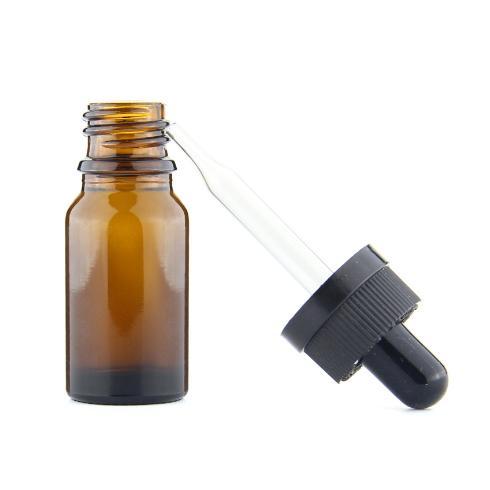 Ölbraune Glasflasche 10ml mit kindersicheren Tropfendeckeln Braunglasflaschen 10ml Kindersicherungs-Manipulationsdichtungsring gerade Tropfpipette
