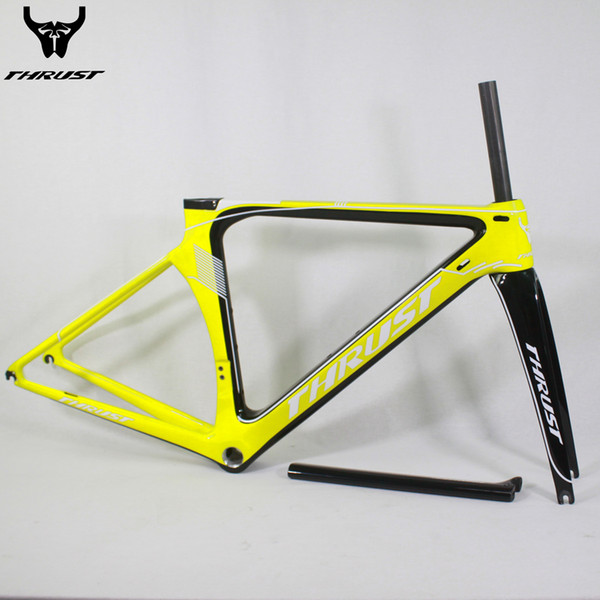 THRUST Carbon Frame Road 48 50 52 54 56 cm Carbon Bike Frame Road Bicycle T1000 BSA BB30 Yellow 8 Colors