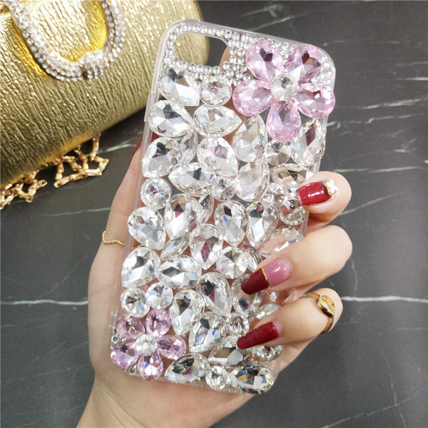 Großhandelsfarbiger Kristalldiamant-Telefonkasten für Huawei P10 Lite / P20 Lite / P9 Lite / Kamerad 20 Pro / Lite Funkelnkristallblumenblattabdeckung