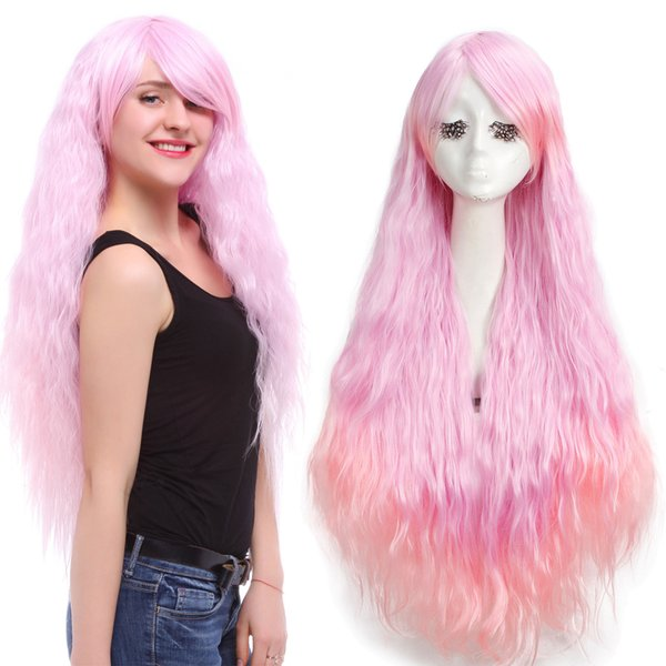 Women Lolita Long Rhapsody Pink Ombre Curly Wavy Wave Cosplay Wig Hair Party