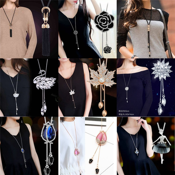 39 colors Women Sweater Chain Necklace Design Rhinestones Crystal Pendant Necklaces Jewelry Clothing Accessories 23381