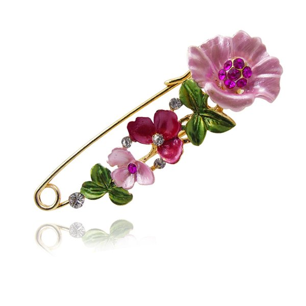 Vintage Assorted Shapes Cute Heart Bow Butterfly Flower Pins Fashion Rhinestones Safety Pin and Brooches for Women