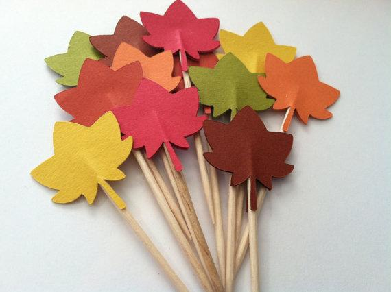 Fall leaf toothpicks engagement Cupcake Toppers Picks baby shower wedding birthday toothpicks decorations Party Supplies Event