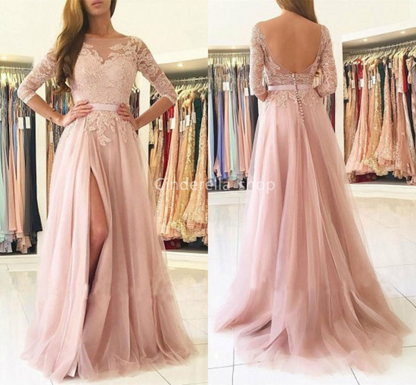 Sheer Bateau Blush Prom Dresses With Half Sleeves Lace Appliques Open Back Party Gowns Sweep Train Formal Gown With Slit robes de bal